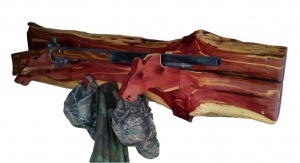 Rustic Cedar Gun Coat Wall Rack Wolf Gun Holders Live Edge Rifle Shotgun