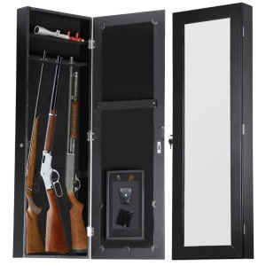 "Gun Cabinet Armoire Hidden In The Wall Mirror Rifle and Pistol Safe (Holds 35.5"" Small Rifles)"