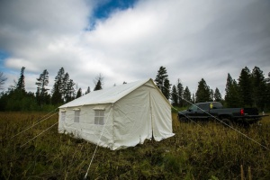13x16 Canvas Wall Tent w Angle Kit, 6 Screened windows - $845